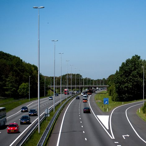 tall light poles at motorway