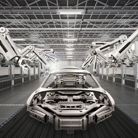 interior of a highly automated car factory