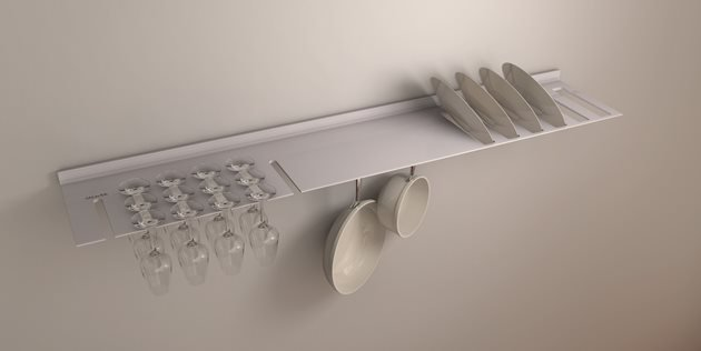 thin aluminium floating shelf with slits for stemmed glasses and dining plates