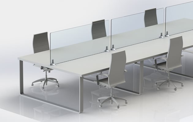Six person conference table separated with transparent shields mounted on aluminium brackets
