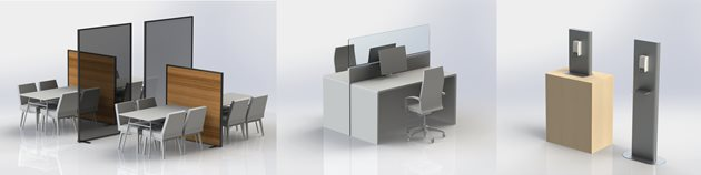Various workstation shielding solution and hand sanitizer dispenser stands.