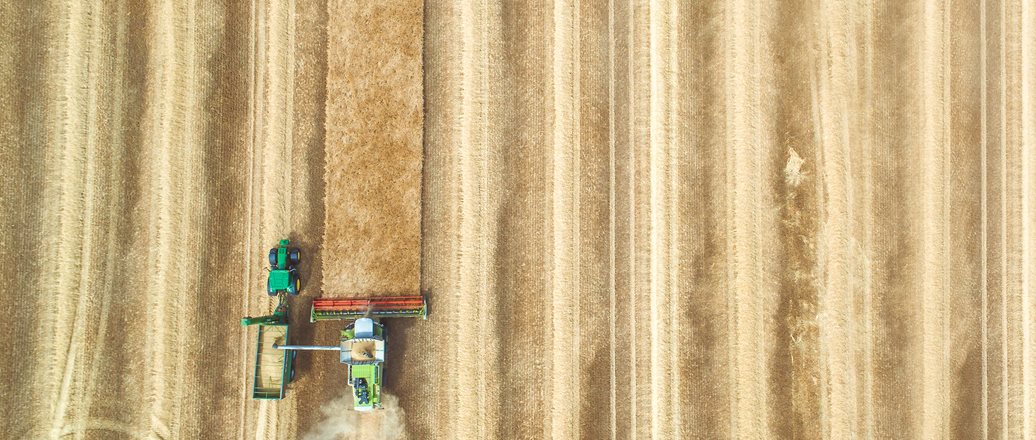 aerial view of wheat harvester