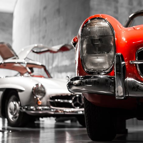 cars in showroom
