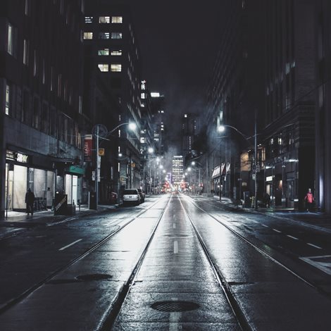 Nightscape of a brightly lit city street