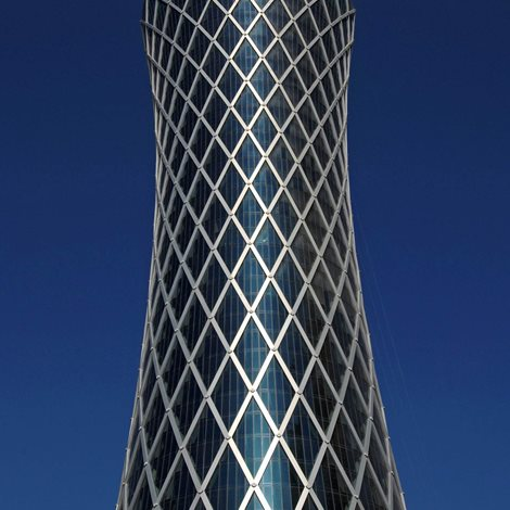 Cylindrical glass tower with aluminium exosceleton