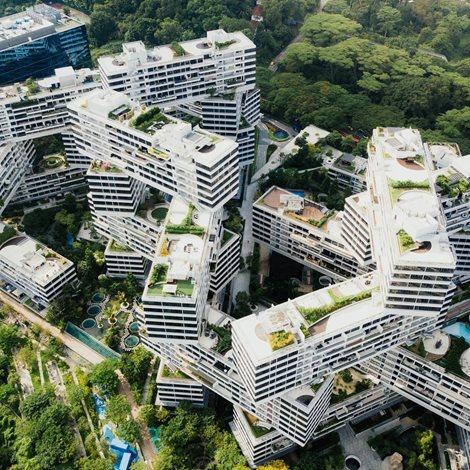 The Interlace, Singapore Condo, features 31 blocks of apartments stacked in a hexagonal arrangement.